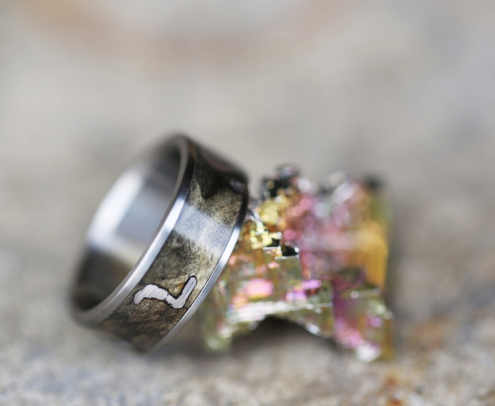 BUCKEYE BURL WEDDING BAND WITH BISMUTH CRYSTAL INLAYS available in