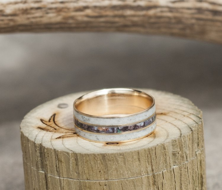mens camo wedding ring with real antler titanium ring - Mens Camo Wedding Rings