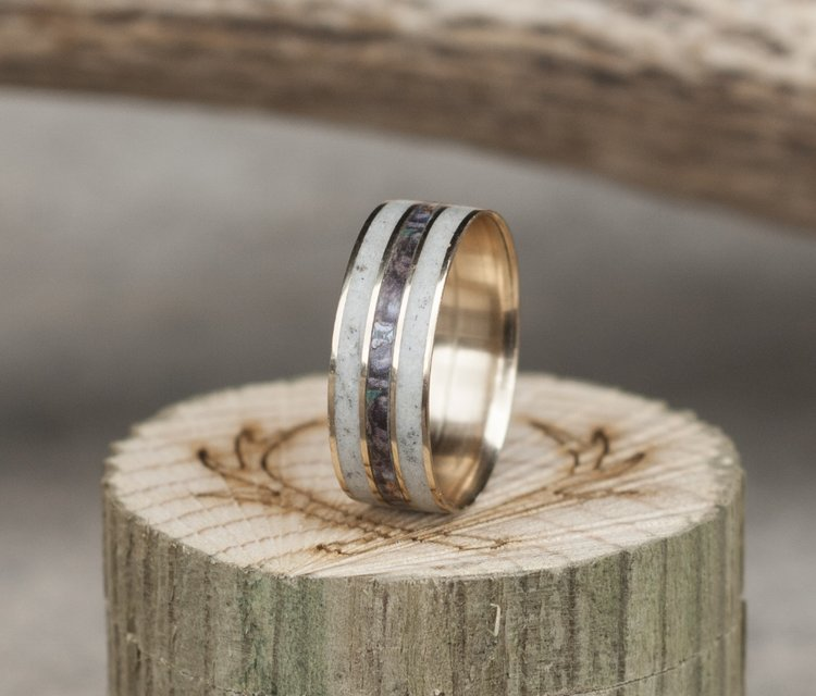 mens camo wedding ring with real antler titanium ring - Mens Camo Wedding Ring
