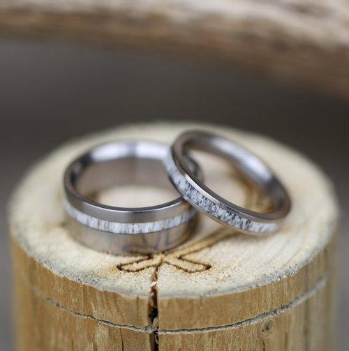 Vertigo Matching Set Of Elk Antler Wedding Bands Available In