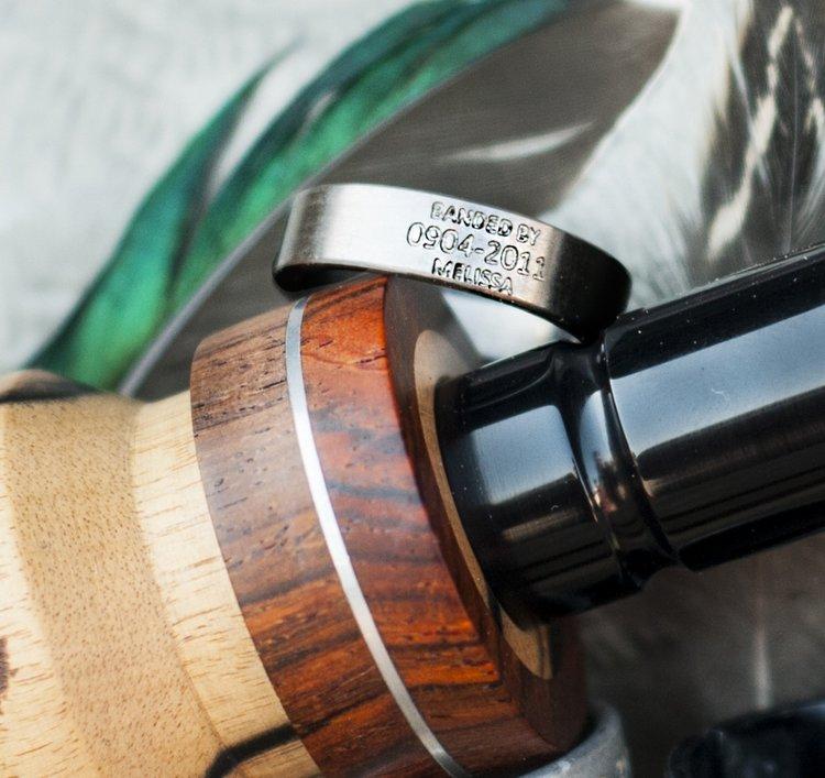 custom engraved duck band wedding ring available in titanium silver black zirconium 10k gold