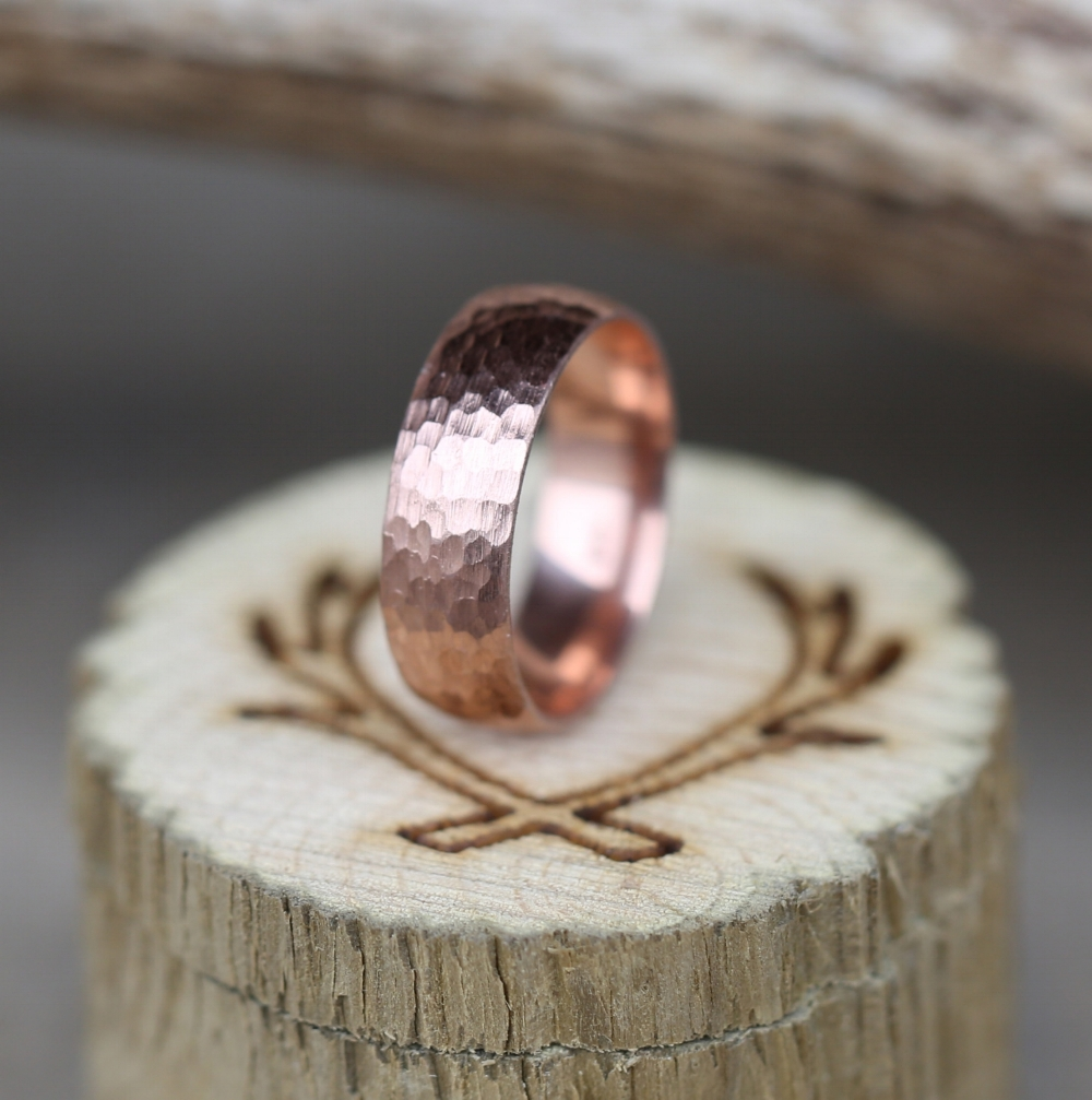 14K ROSE GOLD HAMMERED WEDDING BAND available in 14K rose white or