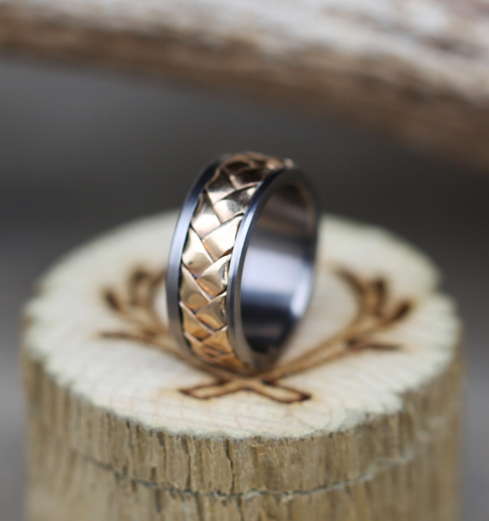 WOVEN 10K GOLD WEDDING BAND available with a titanium silver