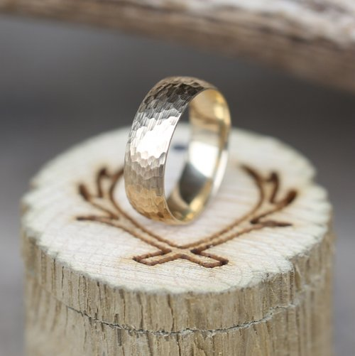 10K YELLOW GOLD HAMMERED WEDDING BAND Available In Rose White Or Yellow Gold