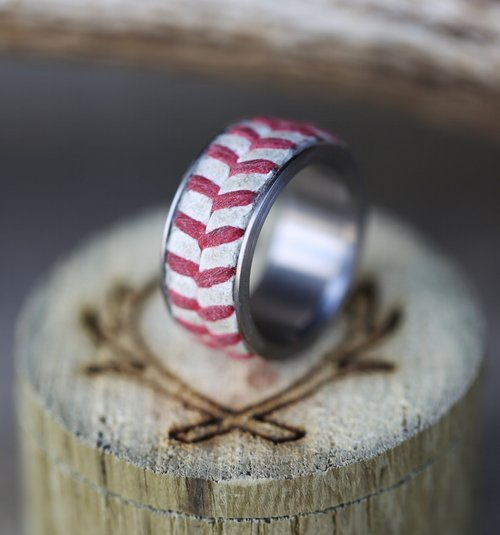 AUTHENTIC MAJOR LEAGUE BASEBALL WEDDING BAND (available in
