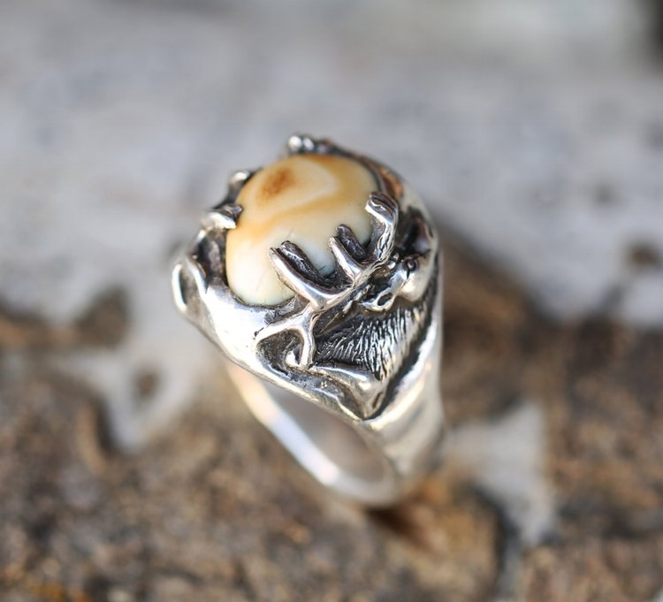 "Introducing our new line of Elk Tooth (elk ivory) ""Lost Wax Casting"" rings!  This design features the carving of an elk but could feature anything you  request!"