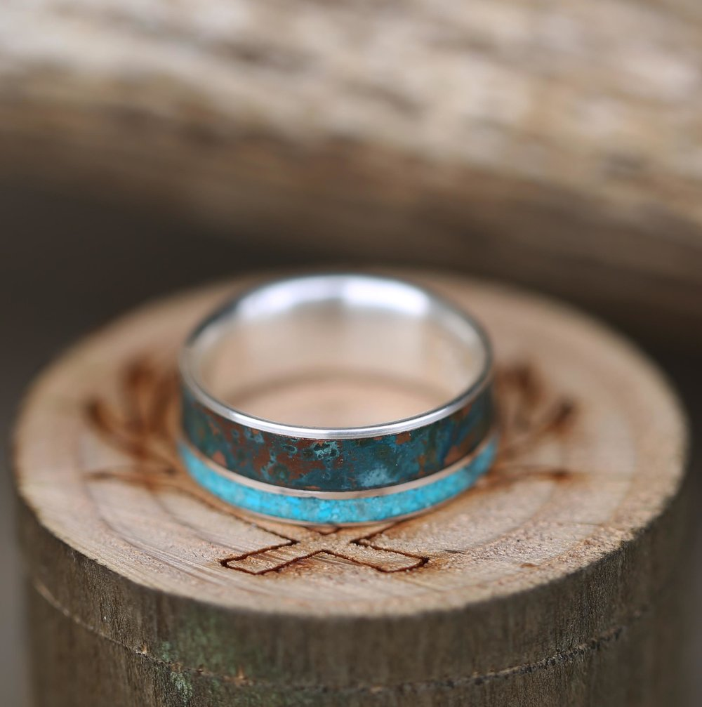 Silver Wedding Band With Patina Copper Amp Turquoise Inlays