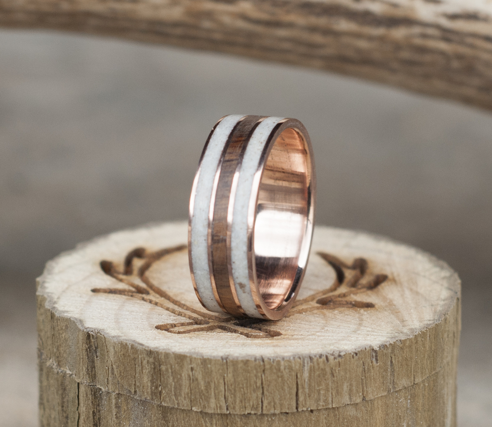 rose gold 3 channel ironwoodjpg - Wooden Wedding Rings