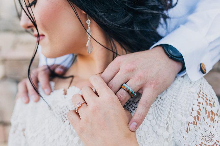 Women S Morganite Wedding Ring Men S Antler Wedding Band Available In 14k Rose Gold