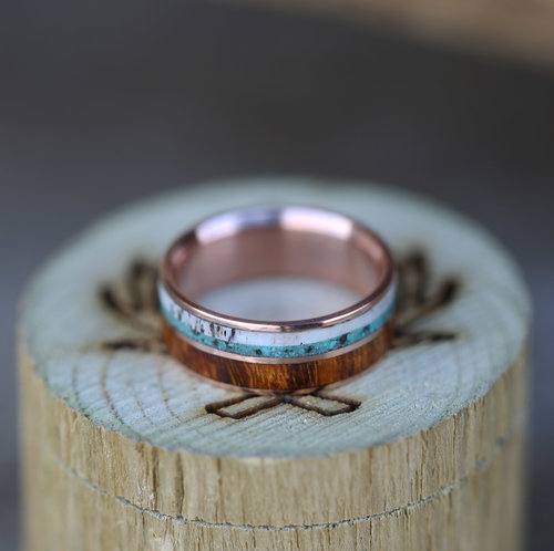 copy of two channel rose gold wedding band with ironwood turquoise and antler inlays - Turquoise Wedding Rings