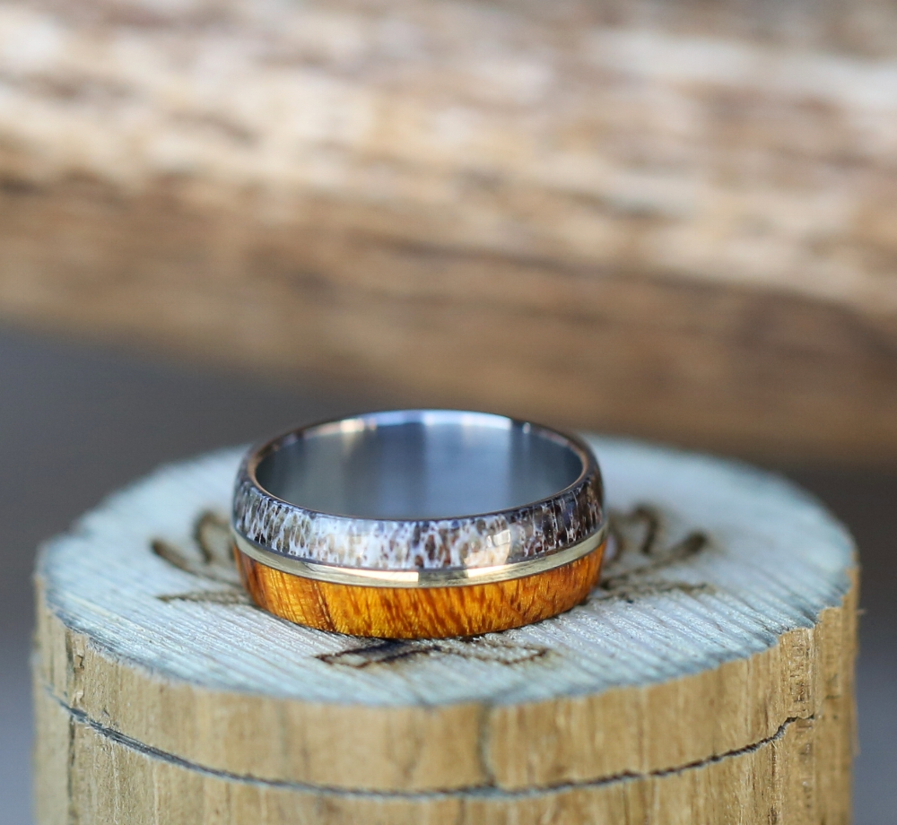 Wood Antler Amp 10k Gold Wedding Band Staghead Designs