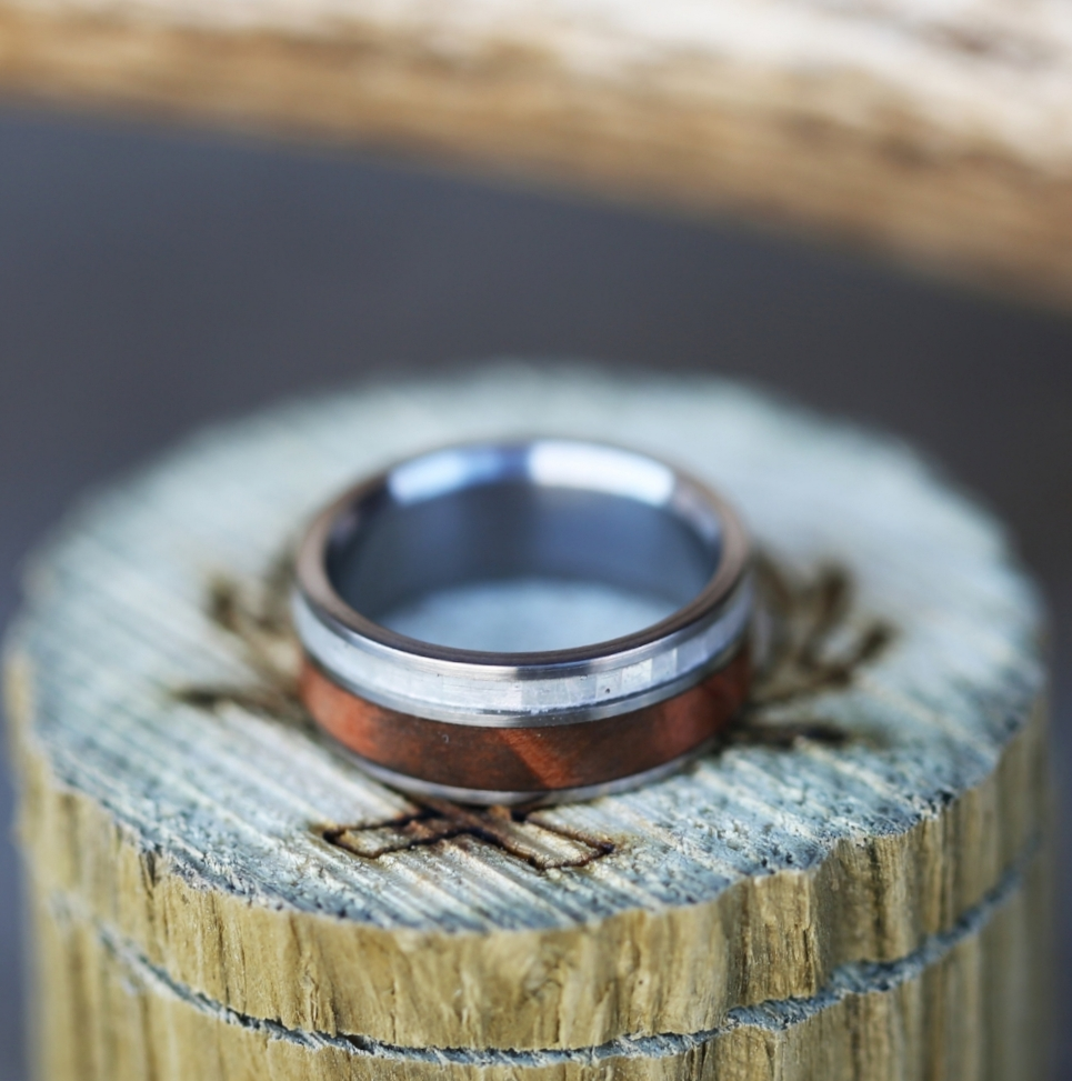 TITANIUM MOTHER OF PEARL REDWOOD WEDDING BAND available in