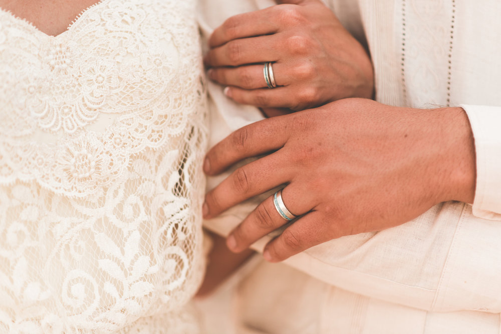 His & Hers Wedding Ring with Hand Crushed Turquoise by Staghead Designs. Photo by Ashley Joyce Photography.