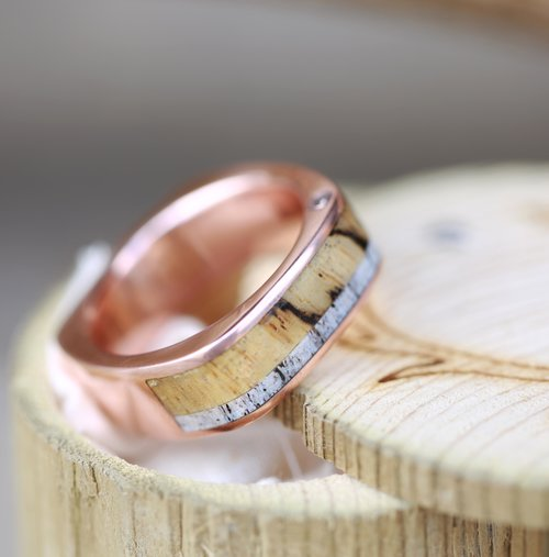 CUSTOM CAST 10K ROSE GOLD WEDDING BAND FEATURING OFFSET DIAMONDS SPALTED MAPLE ELK ANTLER Also Available In Gold