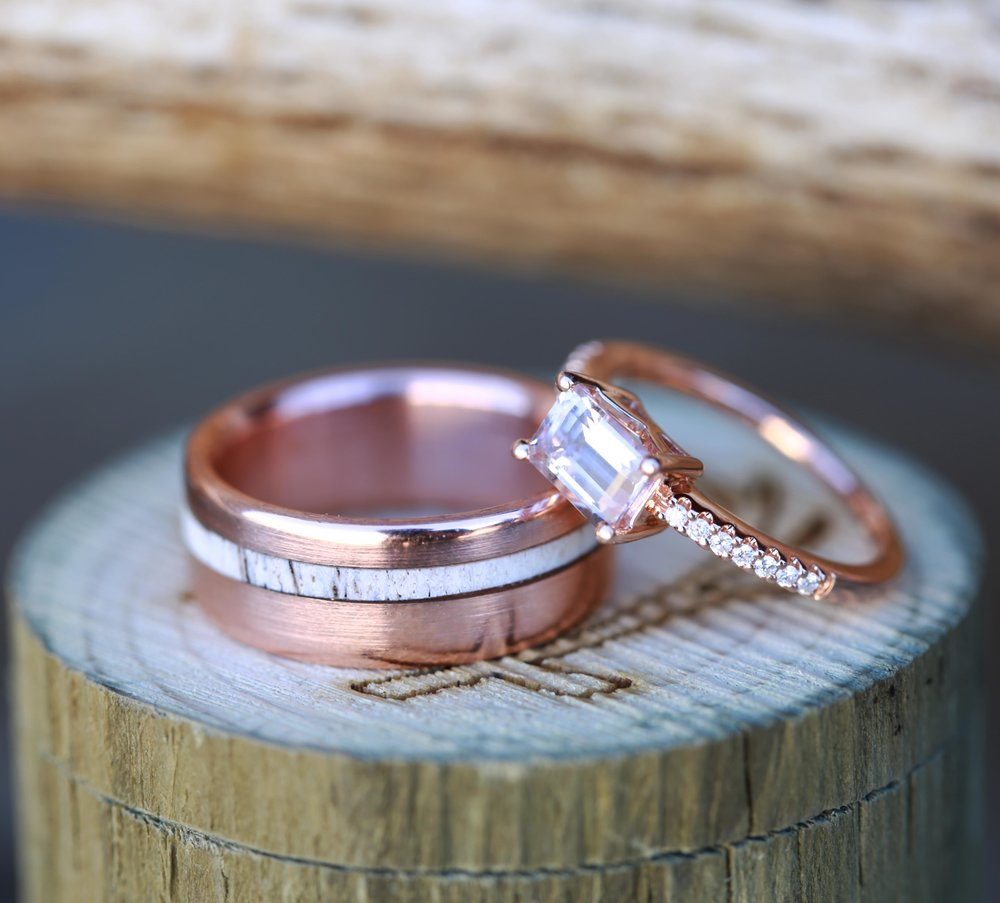 WOMENu0027S MORGANITE WEDDING RING U0026 MENu0027S ANTLER WEDDING BAND (available In  14K Rose Gold)