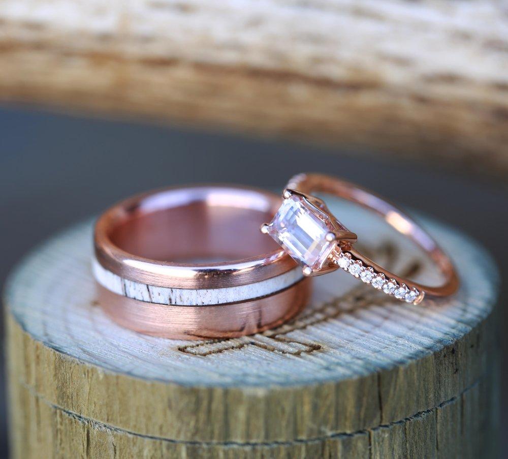 Women S Morganite Wedding Ring Amp Men S Antler Wedding Band Available In 14k Rose Gold