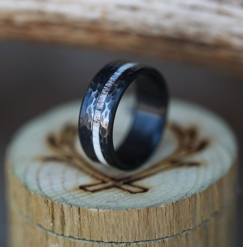 hammered black zirconium antler wedding band handcrafted by staghead designs - Antler Wedding Rings