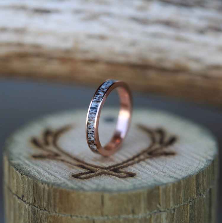 14K ROSE GOLD STACKING WEDDING BANDS available with diamond wood