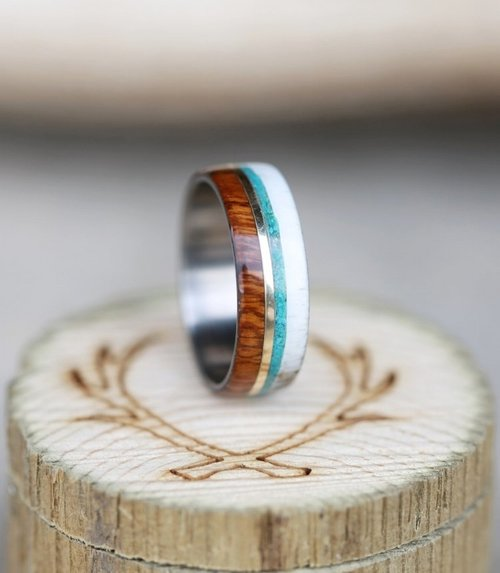 banner with yellow gold inlay wood and antler ring with 10k gold and turquoise inlay - Turquoise Wedding Rings