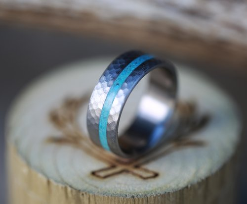 copy of hammered titanium turquoise ring handcrafted by staghead designs - Turquoise Wedding Rings