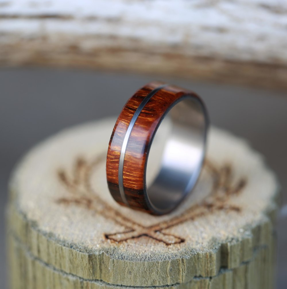 golden mens wood wedding band with metal inlay available in titanium silver or gold staghead designs