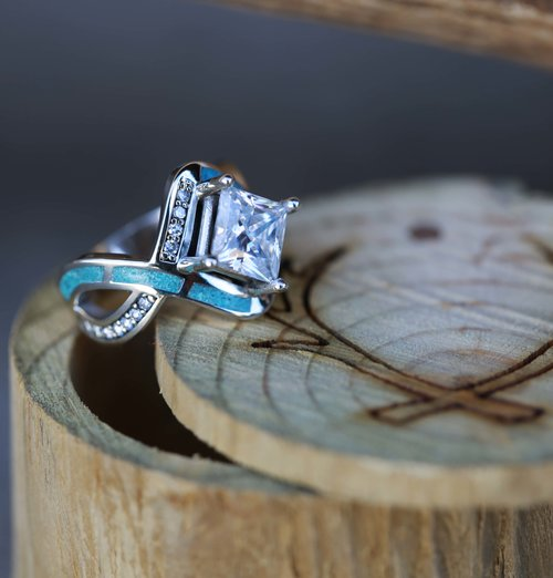Unique 1ct MOISSANITE ENGAGEMENT RING WITH TURQUOISE INLAY (available in  HO28