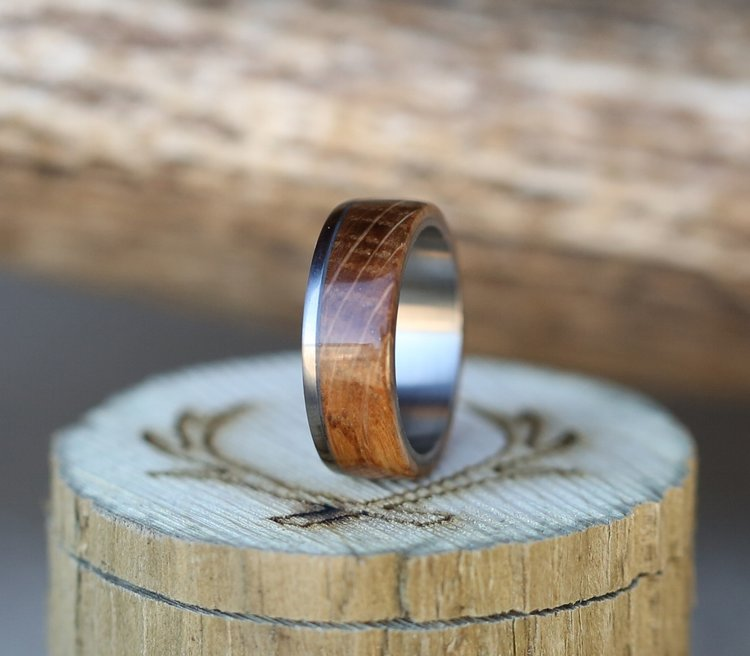 Whiskey Barrel Oak Ring For Men By Staghead Designs.
