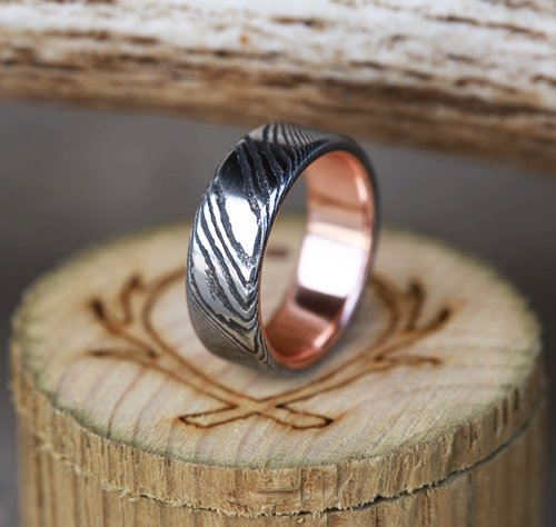 forged copper dp materials bold ring com silver chunky amazon rings wedding hammered band mens