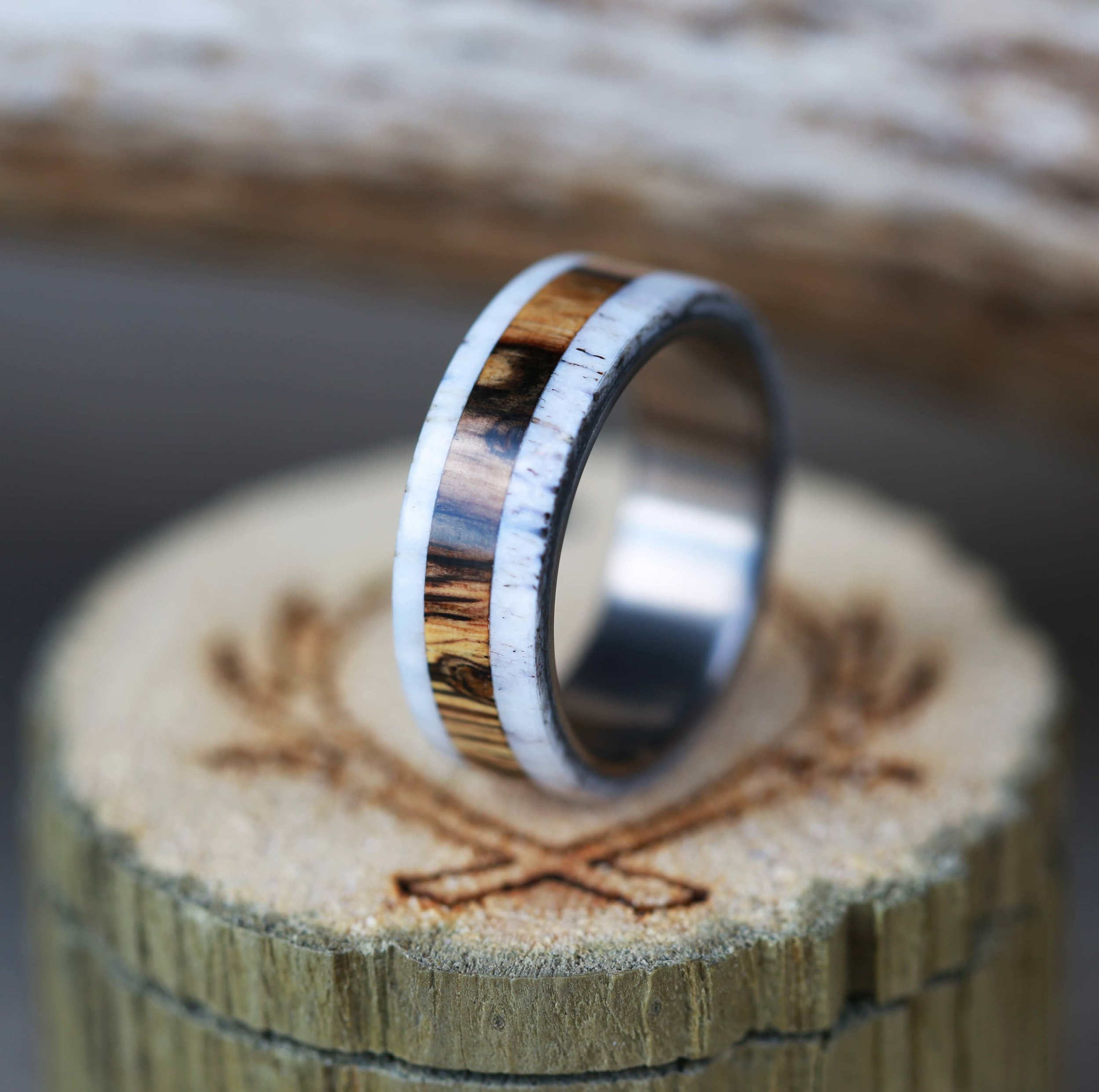 SPALTED MAPLE AND ANTLER RING available in titanium silver