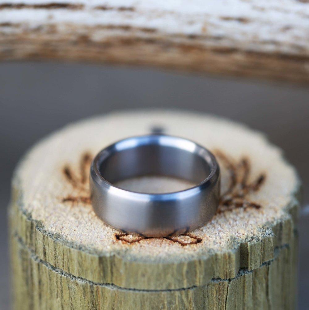 HANDTURNED TITANIUM WEDDING BAND Staghead Designs Design Custom