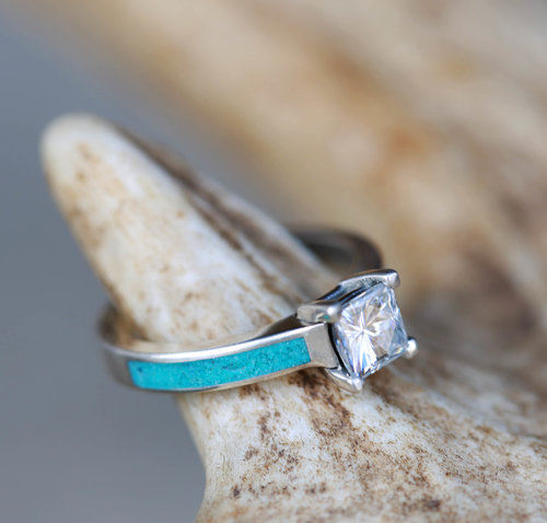 1ct MOISSANITE ENGAGEMENT RING WITH TURQUOISE INLAYS (available in ...