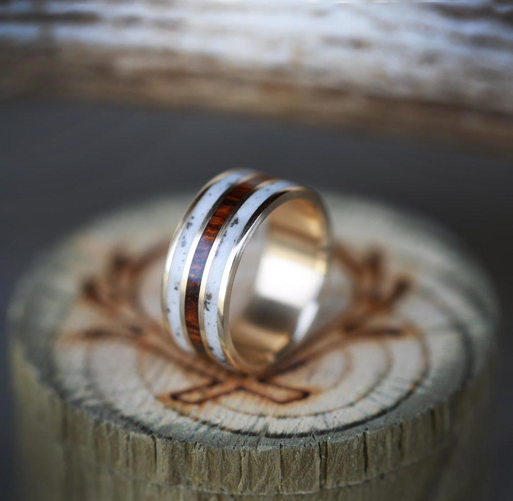 products wedding rings and bands Ironwood elk antler wedding band with inlays of ironwood elk antler custom made