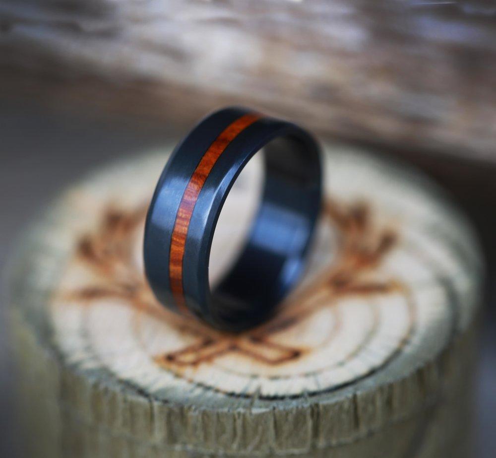 The Quot Vertigo Quot Black Zirconium Narrow Offset Wood Inlay Wedding Band Available In Titanium