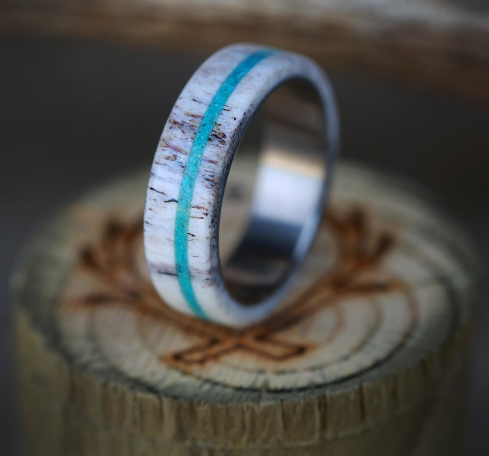 Quot Remmy Quot In Antler And Turquoise On A Titanium Wedding Band