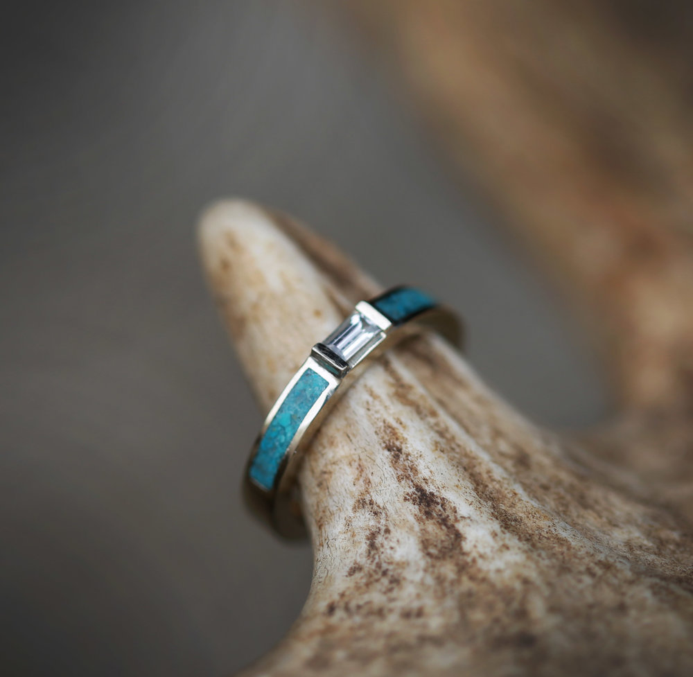 WHITE SAPPHIRE WEDDING BAND WITH TURQUOISE INLAYS available in 14K