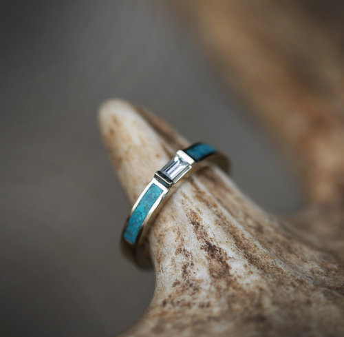 white sapphire wedding band with turquoise inlays available in 14k rose yellow or white gold - Turquoise Wedding Ring