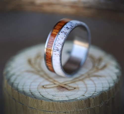 wood and antler unique wedding band for men handcrafted by staghead designs - Wooden Wedding Rings For Men