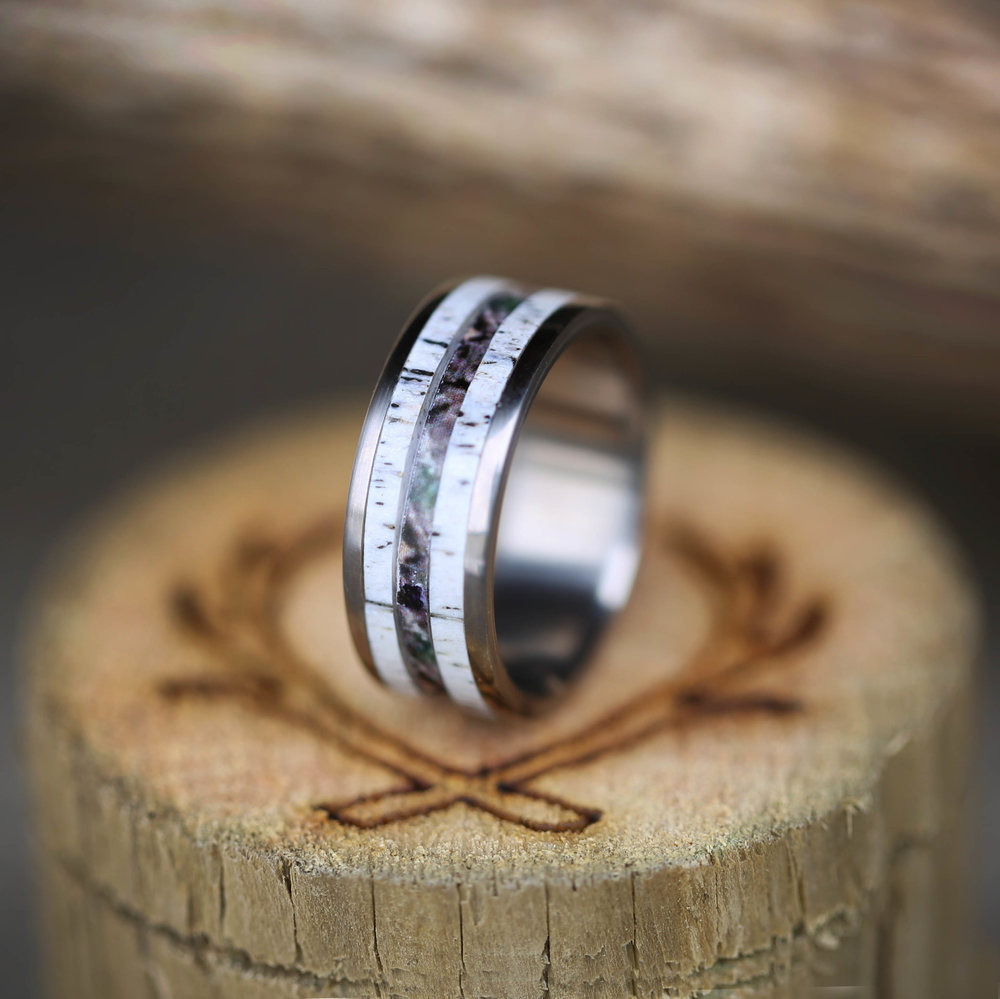 elk antler camo wedding band available in titanium silver or gold staghead designs