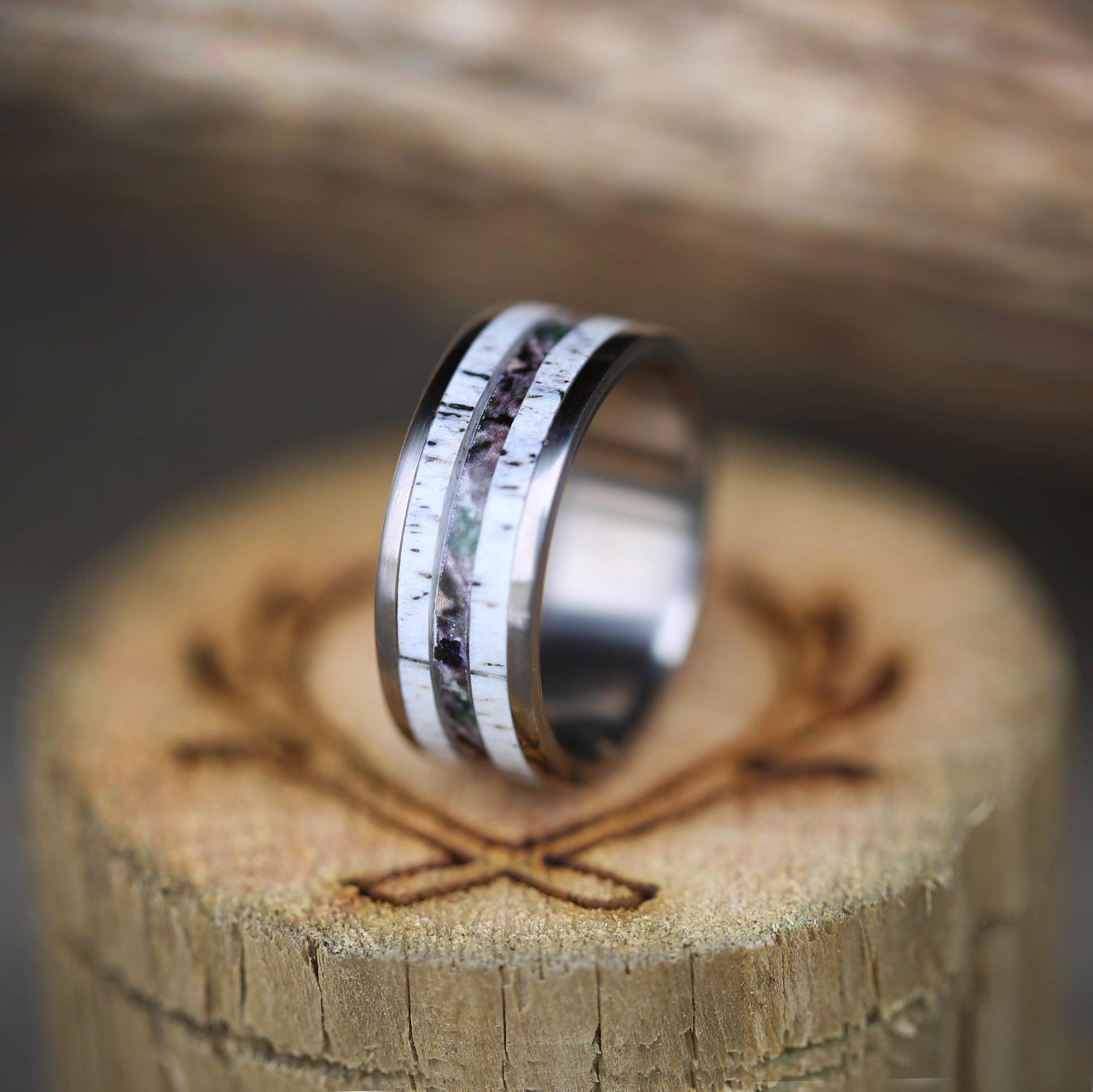 ELK ANTLER CAMO WEDDING BAND available in titanium silver or