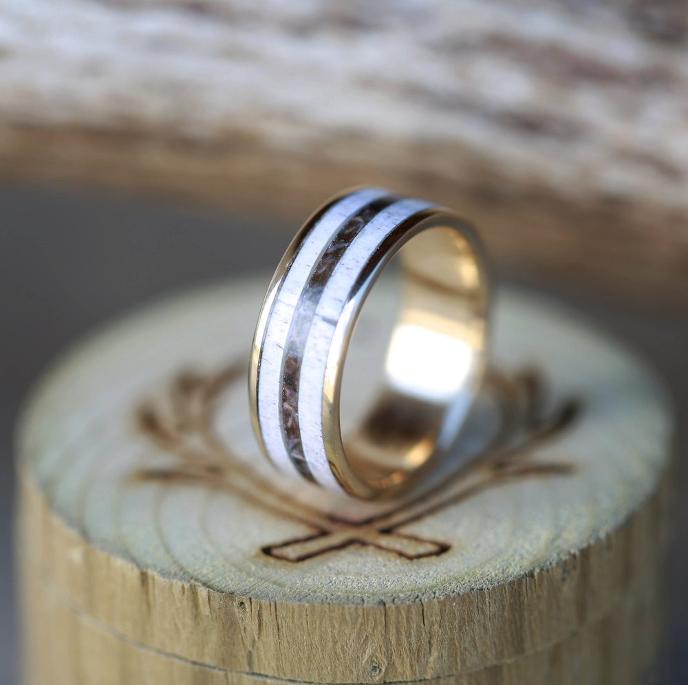 ELK ANTLER CAMO WEDDING BAND available in titanium silver black