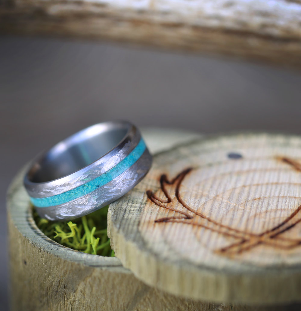hammered titanium wedding band w turquoise inlay staghead designs - Turquoise Wedding Rings
