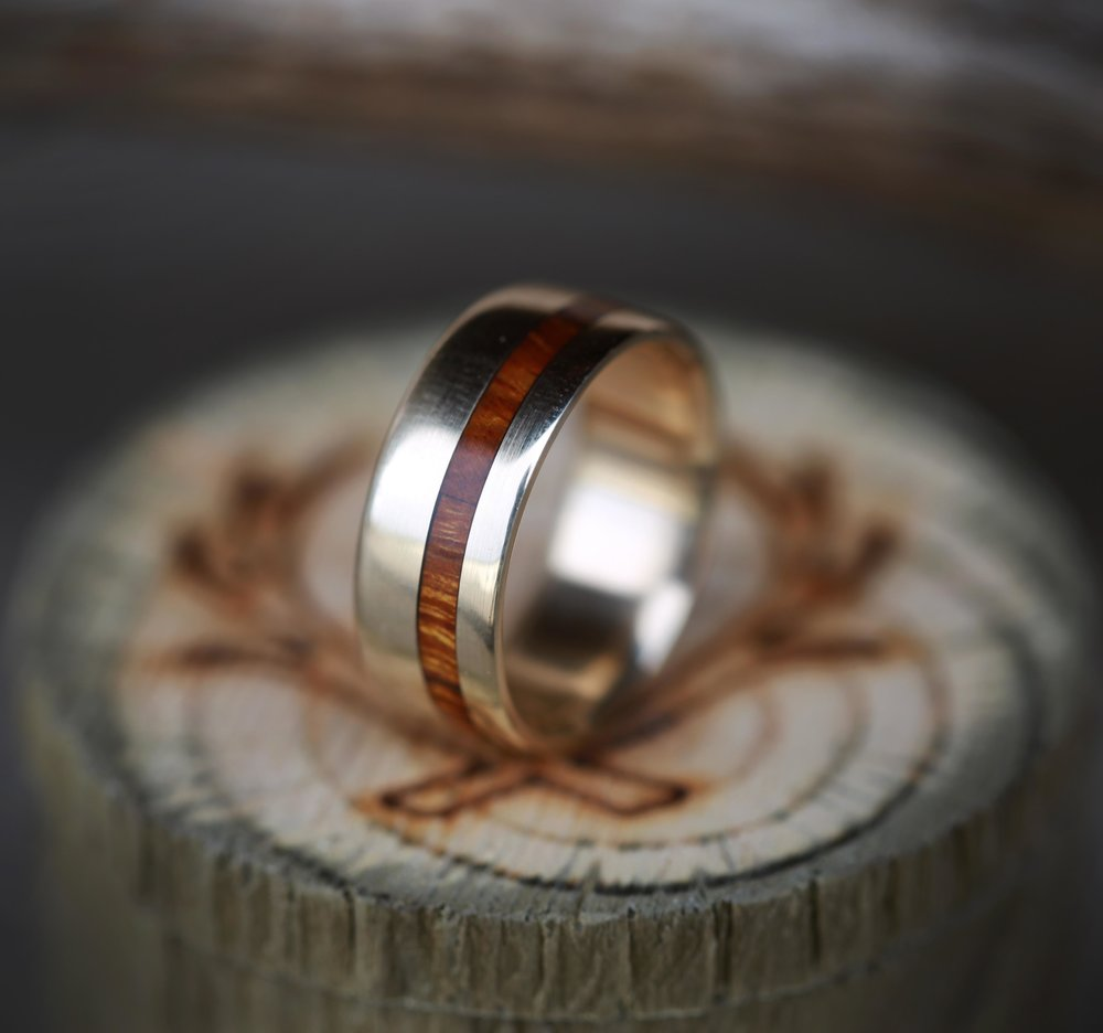 THE  VERTIGO    10K GOLD RING WITH WOOD INLAY   Staghead Designs. Mens Wedding Bands With Wood. Home Design Ideas