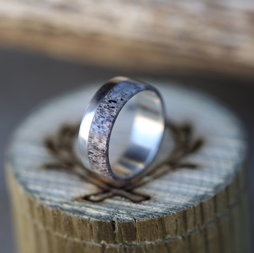 silver and antler wedding band by staghead designs - Deer Antler Wedding Rings