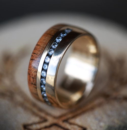Matching Koa Wood Wedding Bands With Diamonds And Mother Of Pearl On