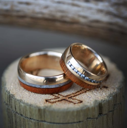matching koa wood wedding bands with diamonds and mother of pearl available in titanium silver black zirconium 10k gold - Koa Wood Wedding Rings
