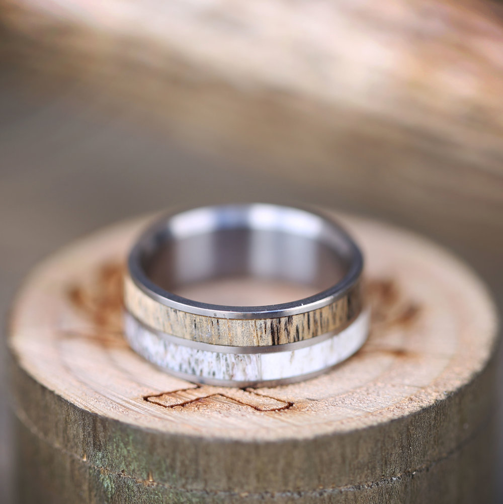 spalted maple and antler wedding band for handcrafted