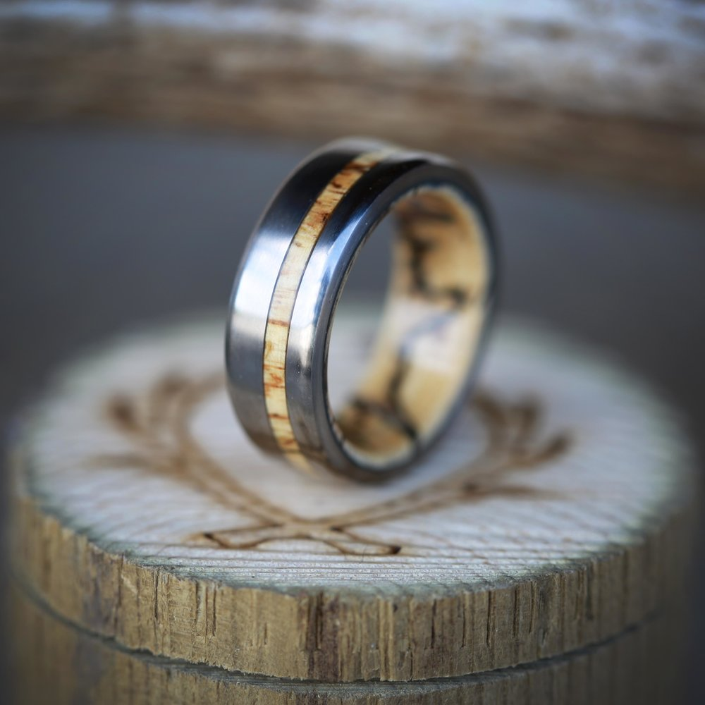 wood lined wedding band w wood inlay available in titanium silver 10k gold mens wedding rings wood WOOD LINED WEDDING BAND W WOOD INLAY available in titanium silver 10k gold STAGHEAD DESIGNS