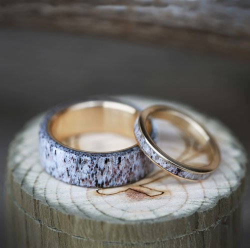 MATCHING SET OF 10K YELLOW GOLD ELK ANTLER WEDDING BANDS Available In Titanium Silver Black Zirconium Or 10k Gold