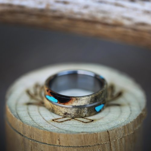 buckeye burl turquoise wedding band by staghead designs - Turquoise Wedding Ring