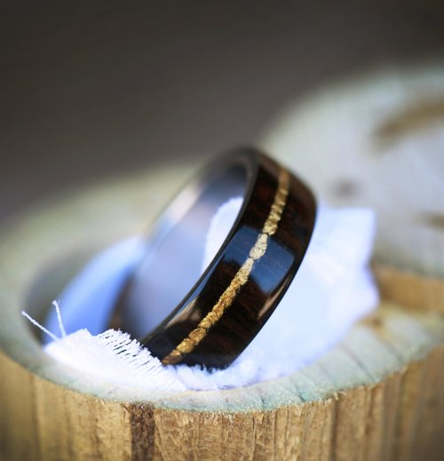 African Black Wood Gold Nuggets On Titanium Band Available In